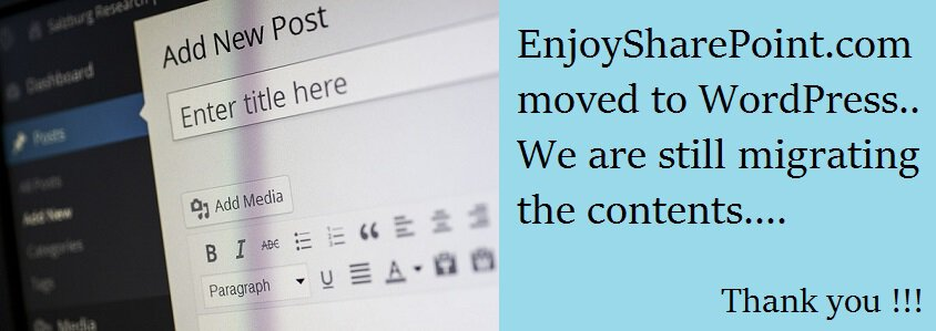 EnjoySharePoint moved to wordpress